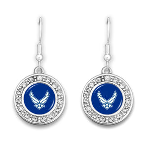 U.S. Air Force Small Round Crystal Charm Earrings