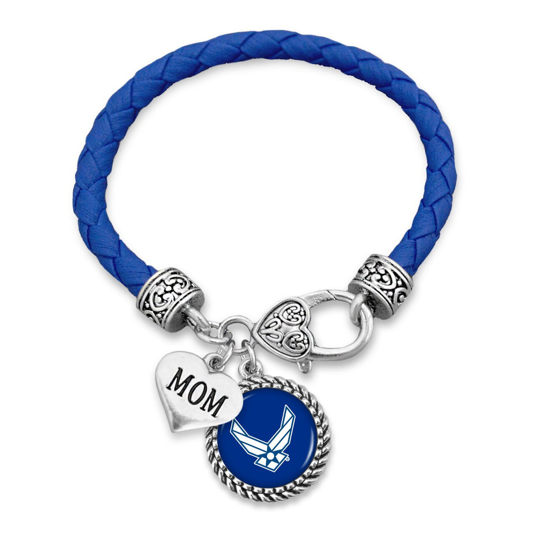 U.S. Air Force Mom Accent Charm Leather Bracelet