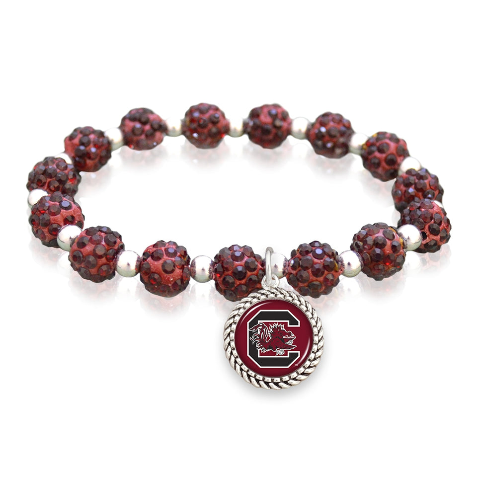 South Carolina Gamecocks Team Color Sparkle Stretchy Bracelet