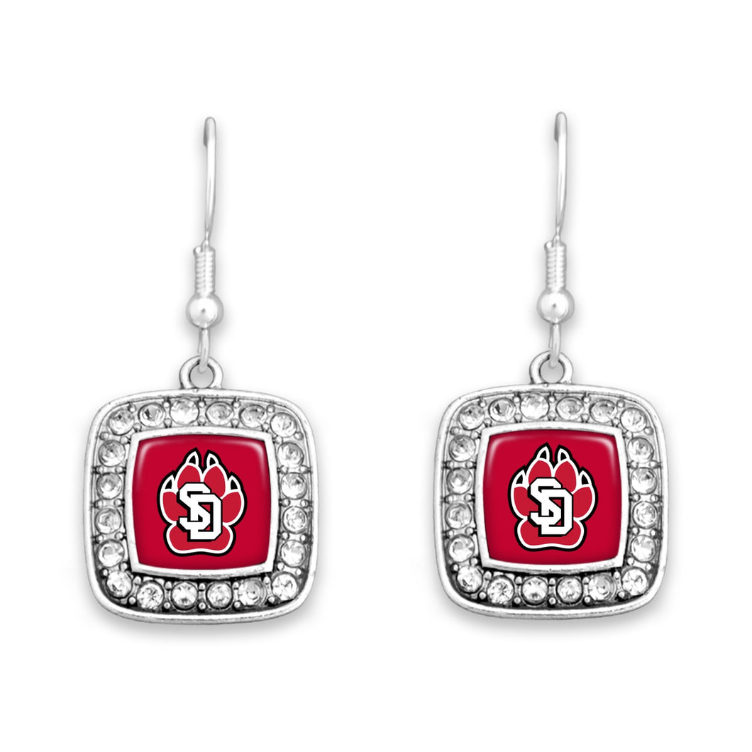 South Dakota Coyotes Square Crystal Charm Kassi Earrings