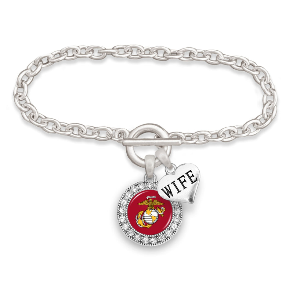 U.S. Marines Round Crystal Charm Bracelet with Wife Accent Charm