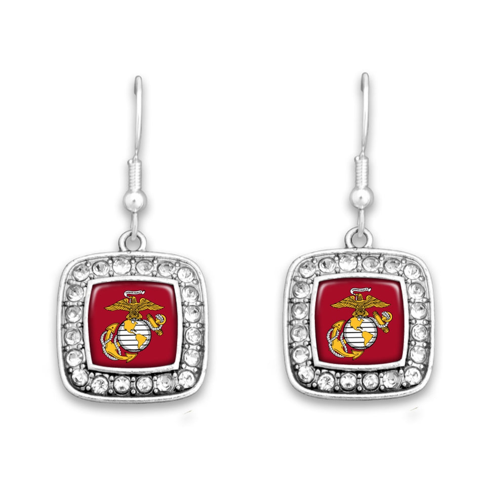 U.S. Marines Square Crystal Charm Earrings