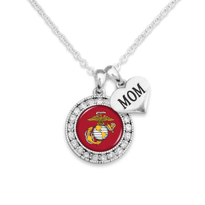 U.S. Marines Round Crystal Charm Necklace with Mom Accent Charm