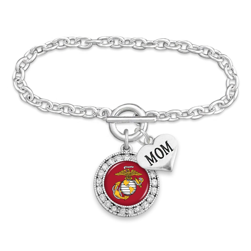 U.S. Marines Round Crystal Charm Bracelet with Mom Accent Charm