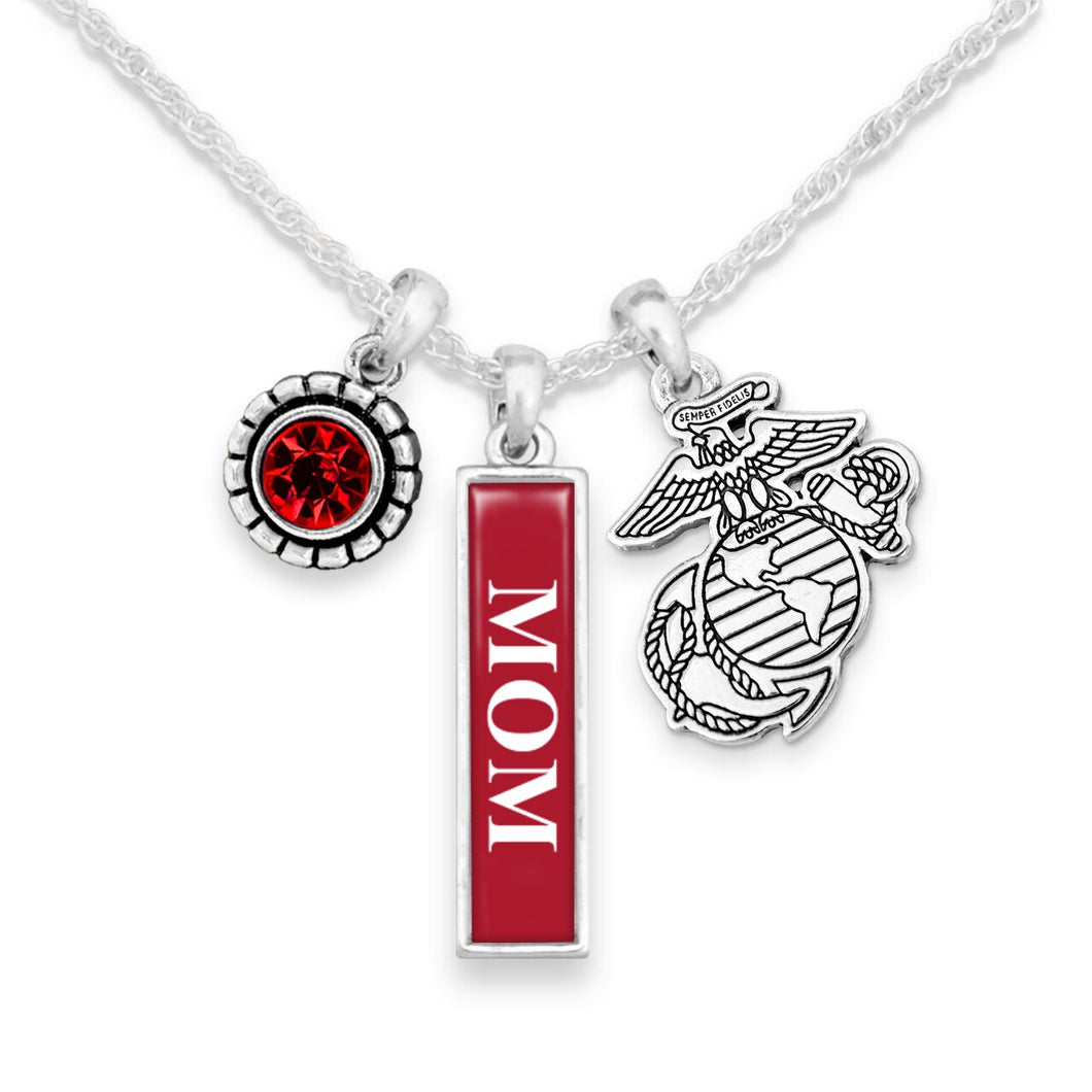 U.S. Marines Triple Charm Necklace with Vertical Mom Pendant