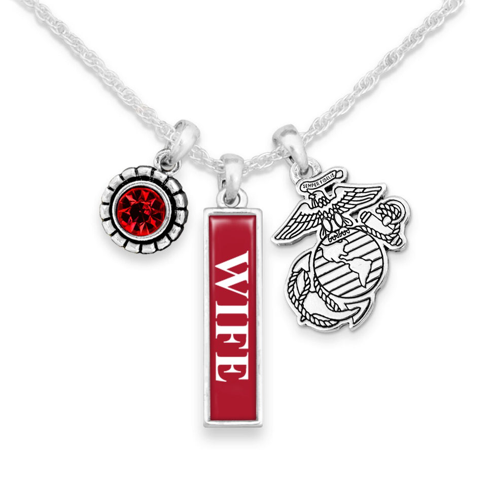 U.S. Marines Triple Charm Necklace with Vertical Wife Pendant