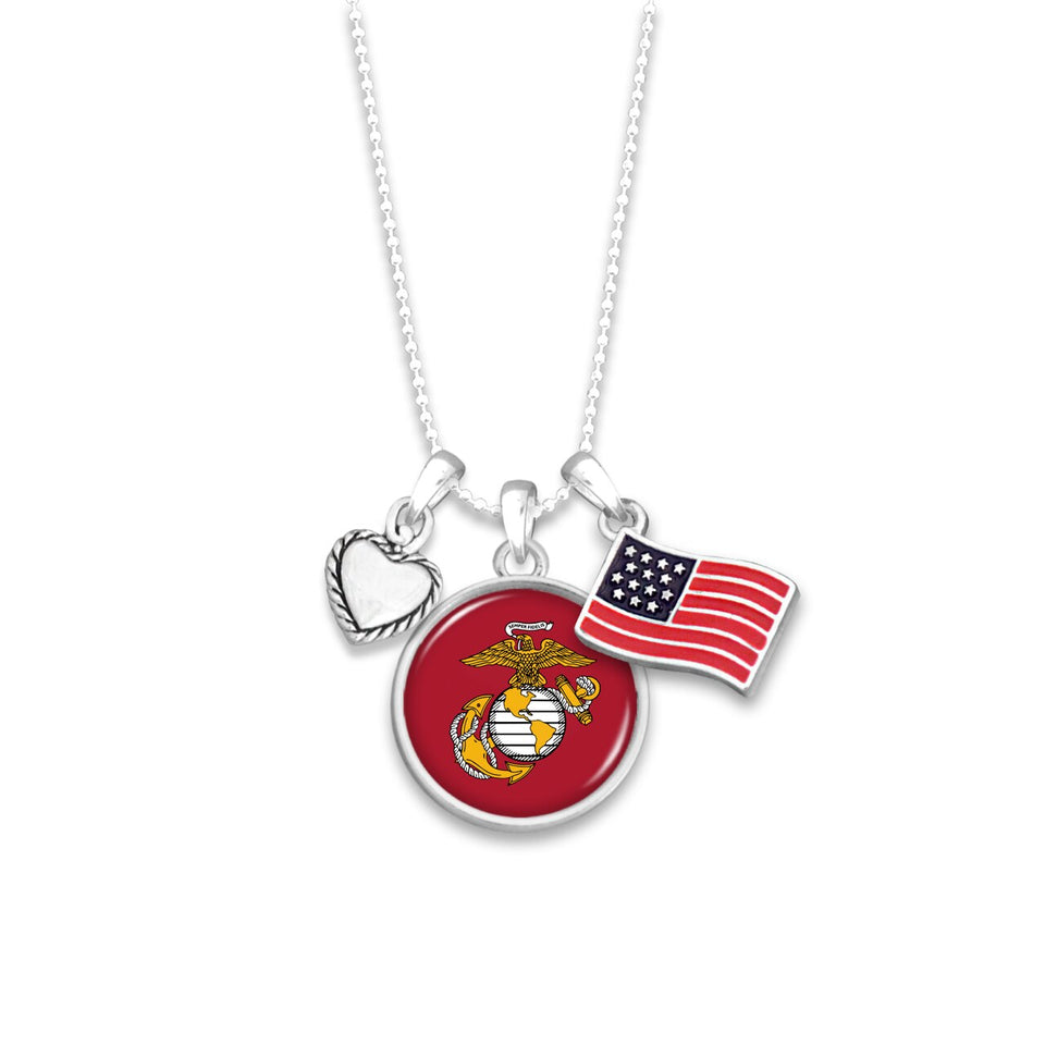 U.S. Marines Triple Charm Necklace with Flag Accent Charm