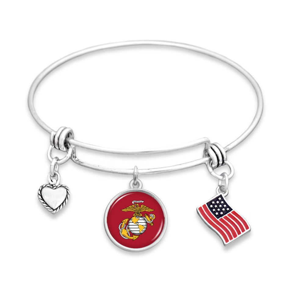 U.S. Marines Triple Charm Bracelet with Flag Accent Charm