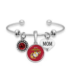 U.S. Marines Triple Charm Bracelet with Mom Accent Charm