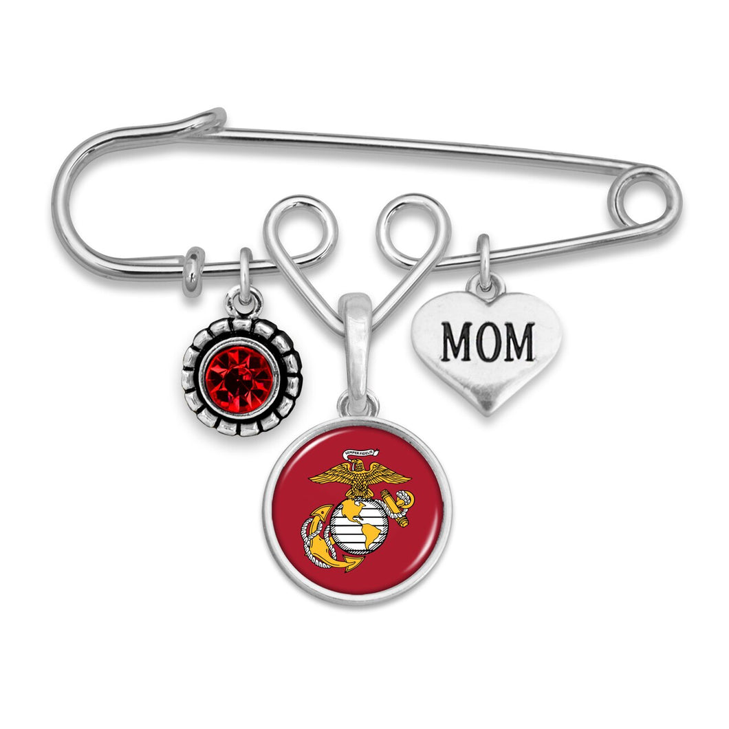 U.S. Marines Triple Charm Brooch with Mom Accent Charm