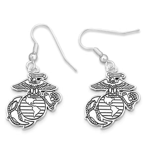 U.S. Marines Silver Logo Charm Earrings