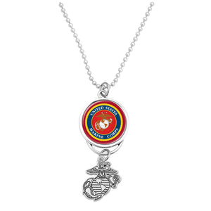 U.S. Marines Car Charm with U.S.M.C. Seal and Silver Logo