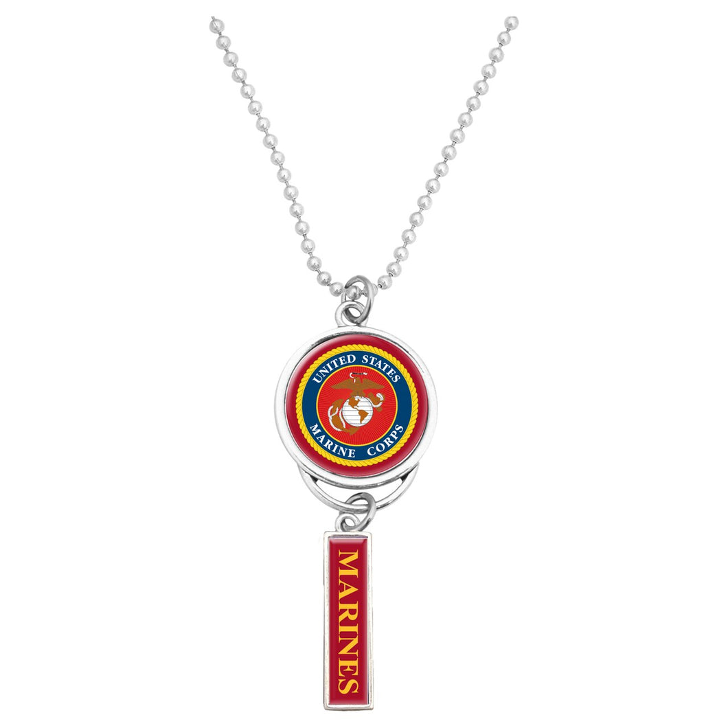 U.S. Marines Car Charm with U.S.M.C. Seal and Marines Pendant