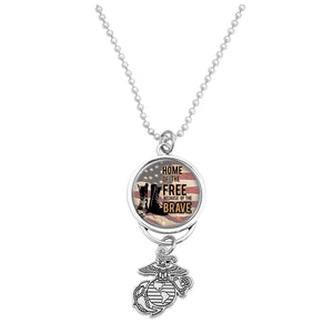 U.S. Marines Home of the Brave (Boots) with Silver Logo Car Charm