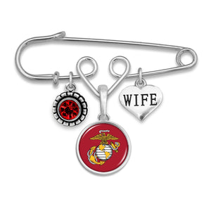 U.S. Marines Triple Charm Brooch with Wife Accent Charm