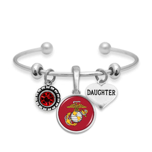 U.S. Marines Triple Charm Bracelet with Daughter Accent Charm