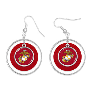 U.S. Marines Round Charm Fish Hook Lindy Earrings