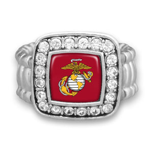 U.S. Marines Square Crystal Charm Stretchy Ring