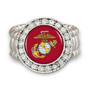 U.S. Marines Round Crystal Charm Stretchy Ring