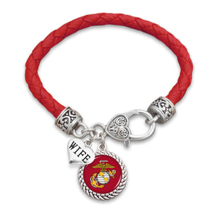 U.S. Marines Wife Accent Charm Leather Bracelet