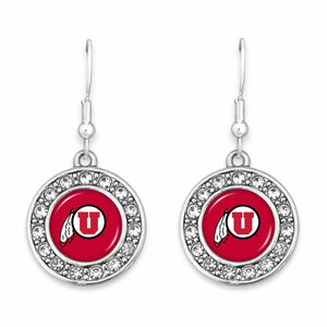 Utah Utes Abby Girl Round Crystal Earrings