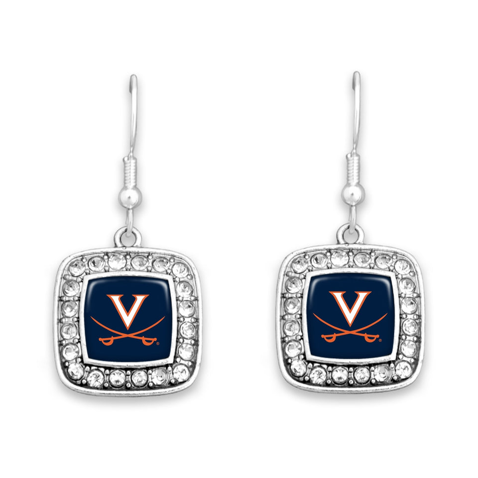 Virginia Cavaliers Square Crystal Charm Kassi Earrings