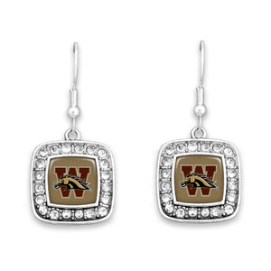 Western Michigan Broncos Square Crystal Charm Kassi Earrings
