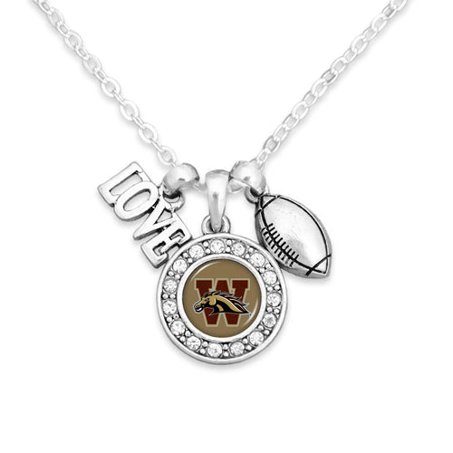 Western Michigan Broncos Football, Love and Logo Necklace