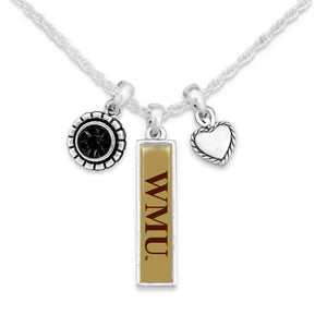 Western Michigan Broncos Triple Charm Necklace
