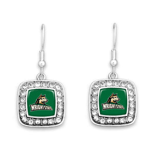 Wright State Raiders Square Crystal Charm Kassi Earrings