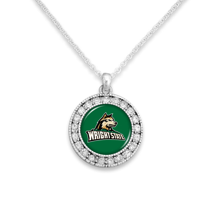 Wright State Raiders Kenzie Round Crystal Charm Necklace