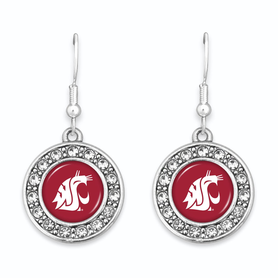 Washington State Cougars Abby Girl Round Crystal Earrings
