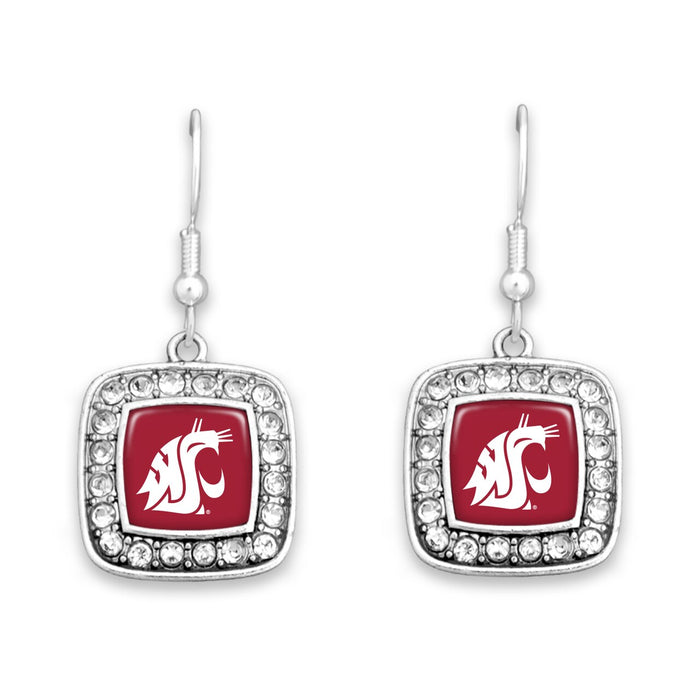 Washington State Cougars Square Crystal Charm Kassi Earrings
