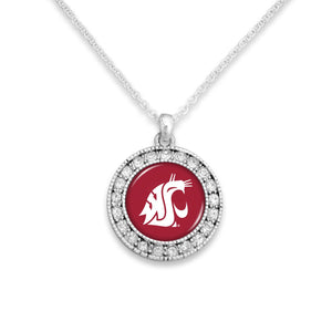 Washington State Cougars Kenzie Round Crystal Charm Necklace
