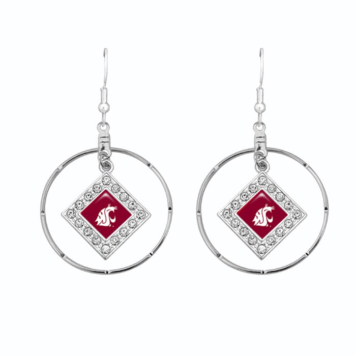 Washington State Cougars Silver Hoop Earrings