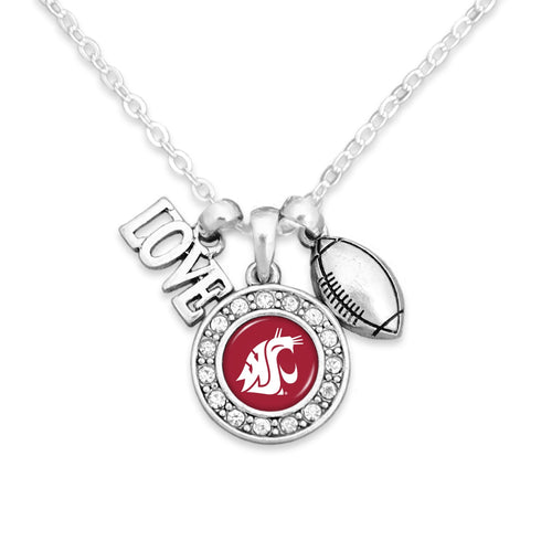 Washington State Cougars Football, Love and Logo Necklace