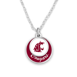 Washington State Cougars Stacked Disk Necklace