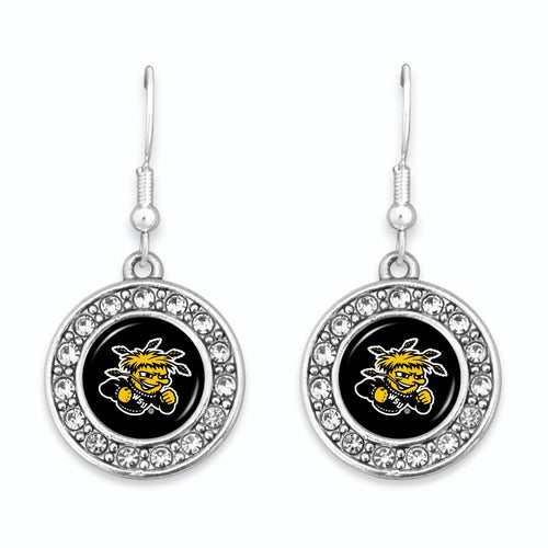 Wichita State Shockers Abby Girl Round Crystal Earrings