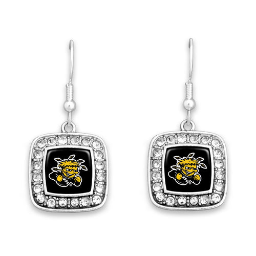 Wichita State Shockers Square Crystal Charm Kassi Earrings