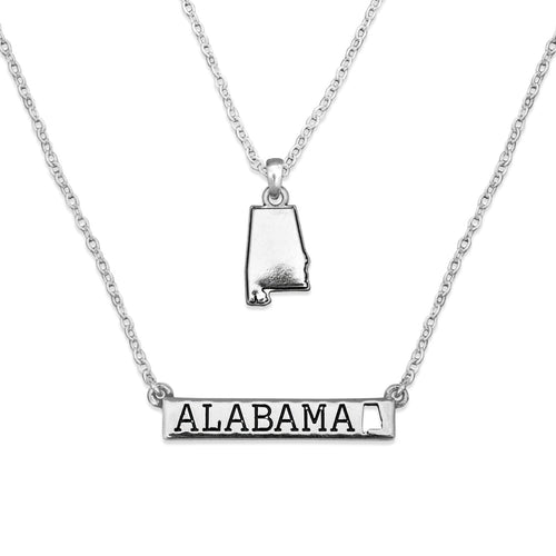 Alabama State Pride ''Silver Double Down State'' Necklace