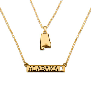 Alabama State Pride ''Gold Double Down State'' Necklace