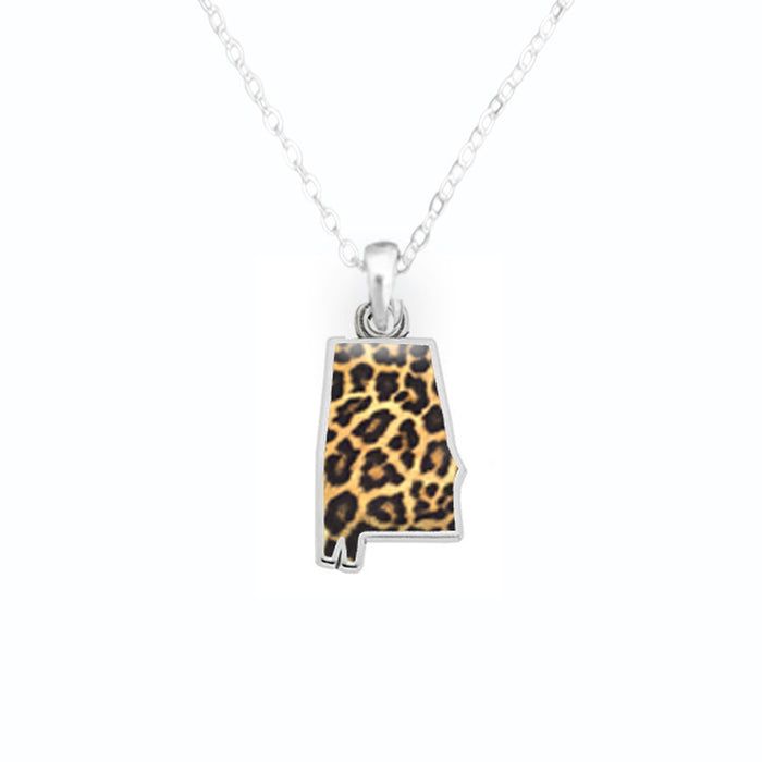 Alabama State Pride ''Silver Cheetah Print State'' Necklace