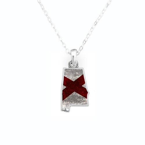 Alabama State Pride ''Flag Pattern State'' Necklace