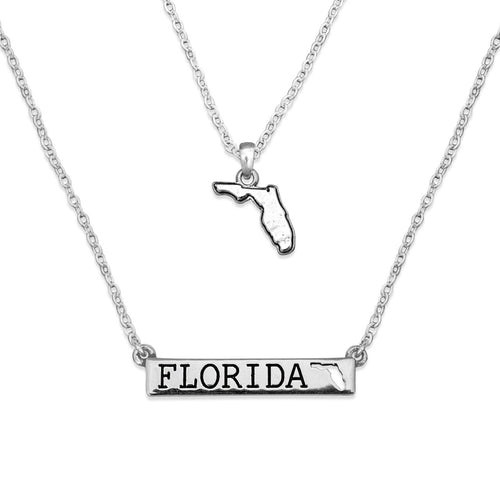 Florida State Pride ''Silver Double Down State'' Necklace