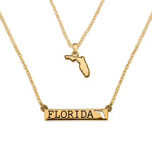 Florida State Pride ''Gold Double Down State'' Necklace