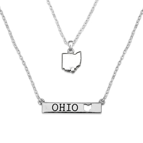 Ohio State Pride ''Silver Double Down State'' Necklace