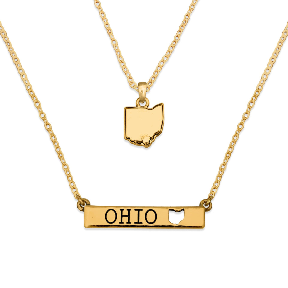 Ohio State Pride ''Gold Crystal and Suede'' Necklace