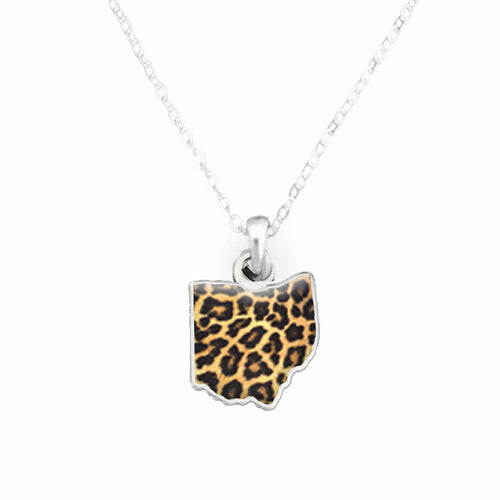 Ohio State Pride ''Silver Cheetah Print State'' Necklace