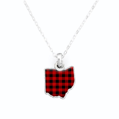 Ohio State Pride ''Flag Pattern State'' Necklace