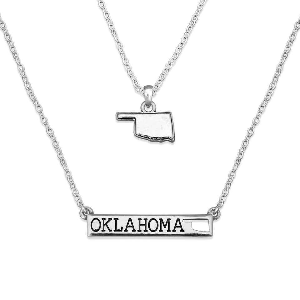 Oklahoma State Pride ''Silver Double Down State'' Necklace